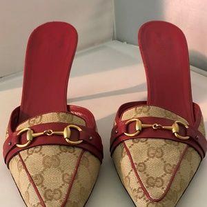 Gucci GG Canvas Leather Horsebit Mule Slide Pumps
